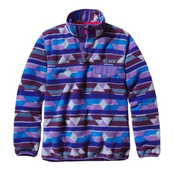 Patagonia Women's Synchilla® Recycled Fleece Lightweight Snap-T® Pullover | Pop Dots: Classic Navy