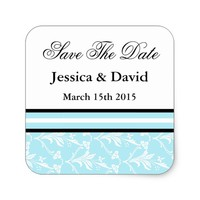 Robin Blue Damask Save The Date Stickers