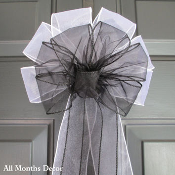 Sheer Black over White Bow, Pew Bridal Wedding Decorations, Aisle Ceremony Reception, Baby Shower, Floral