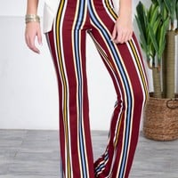 Crimson Bold Striped Flared Pants