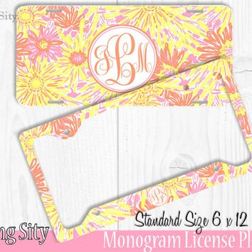 Yellow Pink Floral Monogram License Plate Frame Holder Metal Wall Sign Tags Personalized Custom Vanity Plate