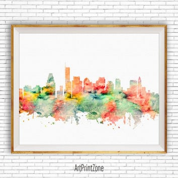Boston Skyline, Boston Art Print, Office Art, Boston Massachusetts, Office Prints, Travel Poster, City Wall Art, City Art, ArtPrintZone
