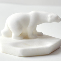 Vintage marble polar bear figurine from Soviet Era by SovietEra