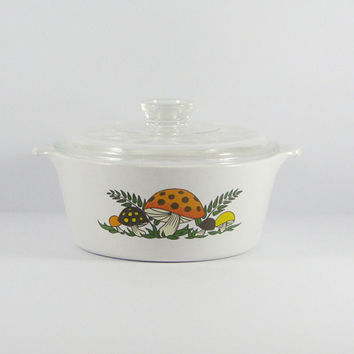 Vintage Retro Merry Mushroom Casserole Dish by Corningware, 2 1/2 QT, Sears Roebuck & Co, Burnt Orange, Brown