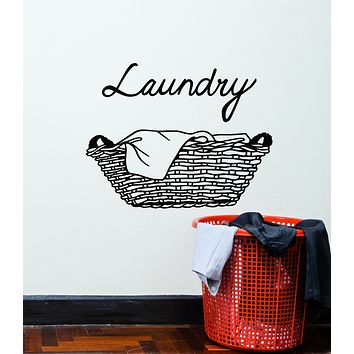 Vinyl Wall Decal Laundry Room Dry Basket Cleaning Cleaner Stickers Mural (g822)