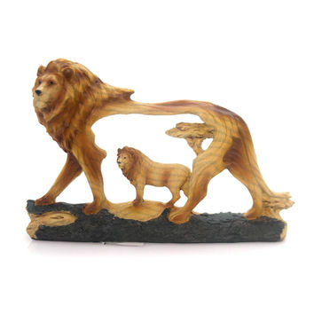 Animal Lion 4.5 Inch Woodlike Carving Figurine
