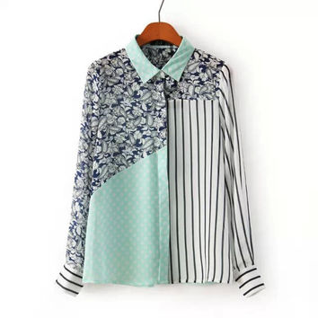 3-color Long Sleeve Chiffon Casual Stripes Print Shirt Tops Blouse [6047810945]