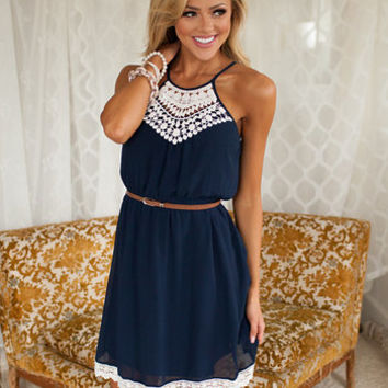 Lovable Lady Dress Navy