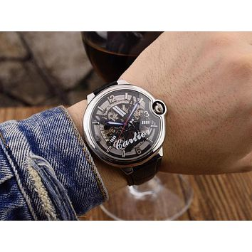 DCCK C025 Cartier Pirate Skull Hollow Automatic Machinery Leather Watchand Watches Black Sliver White