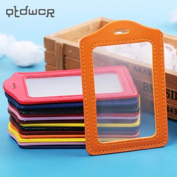 4PCS/lot PU Leather ID Badge Case Clear and Color Border Lanyard Holes Bank Credit Card Holders ID Badge Holders Accessories