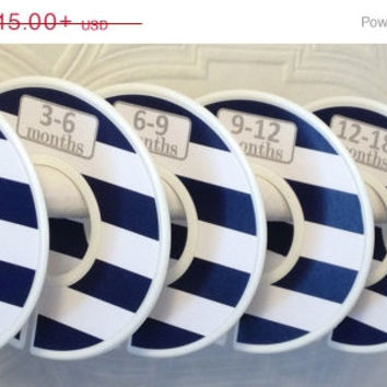 ON SALE Custom Baby Closet Dividers Organizers in Wide Navy Stripes with Grey Font CD105 Boy Girl Baby Shower Nursery Gift Clothes Organizer
