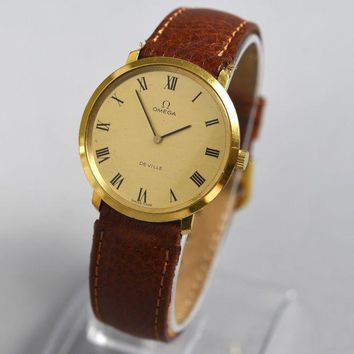 ONETOW Vintage OMEGA De VILLE Men's Manual Wind Gold Plated Watch Cal. 620 Ref. 111.077