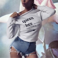 "White ""Queen bee"" Letter Print Sweater"