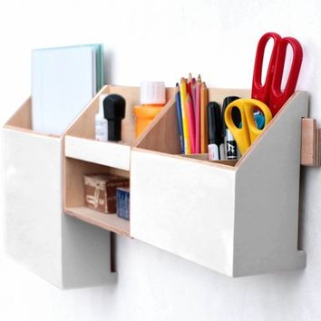 Wood wall organizer White, Mail Organizer, Wall hanging Mail Holder, Pen holder, Home Office wall hanger, back to school,  Gift for office