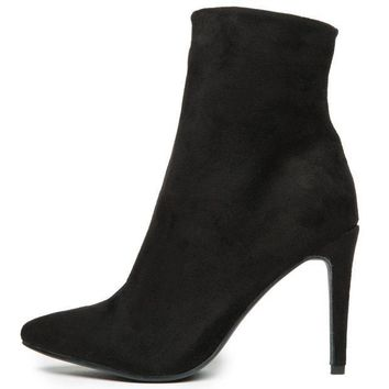 ESBI7E Chinese Laundry Song Bird Micro Suede Black Heeled Booties