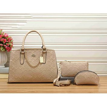 Coach Trending Women Stylish Leather Handbag Shoulder Bag Crossbody Purse Wallet Set Three Piece Beige I-KSPJ-BBDL