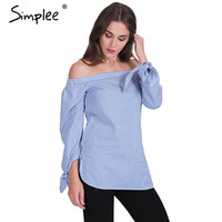 Simplee Apparel Elegant bow blue off shoulder female blouse shirt Sexy summer  girls white blouse Women tops striped blusas