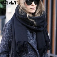 Tassels Solid Color Artificial Cashmere Scarf