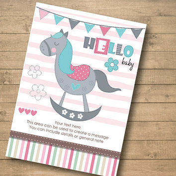 vintage PINK rocking horse – Boy or Girl Baby Shower Invitation –Ready to print – Put your own text - Instant Download
