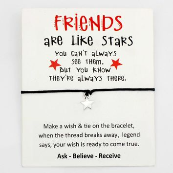 Stars Best Friends Heart Thank You Mom Mum Dream Bee Silver Charm Card Bracelets Women Men Handmade Fashion Jewelry Gift