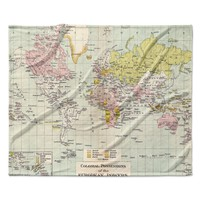 "Catherine Holcombe ""Travel"" World Map Fleece Throw Blanket"