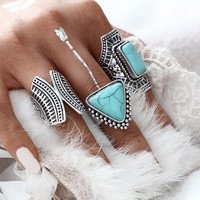3pcs/Set  Boho Vintage Punk Silver Color Stone Midi Finger Rings For Women /Men Bohemian Ring Set Jewelry Anillos JM0510