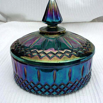 Blue Carnival Glass Lidded Candy Dish Indiana Glass Home and Garden Kitchen and Dining Serve Ware Tableware Bowls