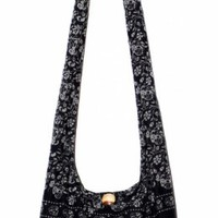 "Elephant Classics Cotton Printed Cross Body Sling Shoulder Hobo Boho Hippie Purse Bag Black 34"" Length"