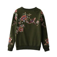 European style autumn women 's new wild green flowers and birds embroidered hoodies long - sleeved fleece sweatershirts