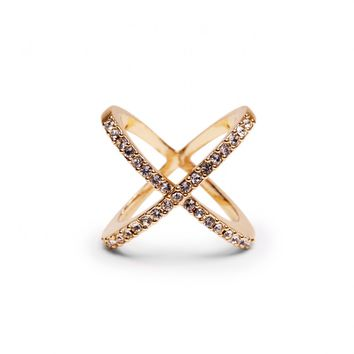 Sole Society Pave Crossed Ring
