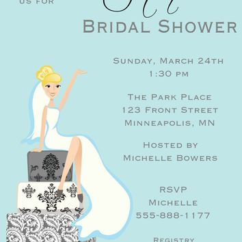 Bride Sitting on Cake Bridal Shower Invitations