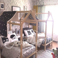 Children bed 200x90cm/Kinge Single, play canopy, nursery, toddler bed, children bedroom wood toy bed, educational toy, children toy ON LEGS
