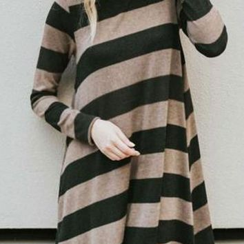 Khaki Striped Draped Round Neck Long Sleeve Casual T-Shirt