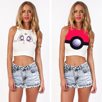 Fashion Casual Cartoon Print Round Neck Sleeveless Vest T-shirt Crop Top