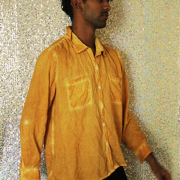Yellow Ochre #CF912A // Vintage Cotton Dyed Long Sleeve Button Up Shirt