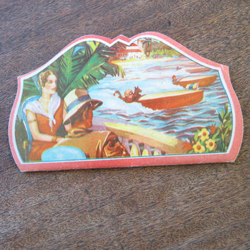 Rare 1930s 'Weekend' Sewing Needle Book with Flapper & Man in Fedora; Free Ship/U.S.