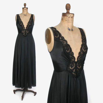 Vintage 70s OLGA NIGHTGOWN / 1970s Silky Black Sheer Lace Full Sweep Negligee S - M