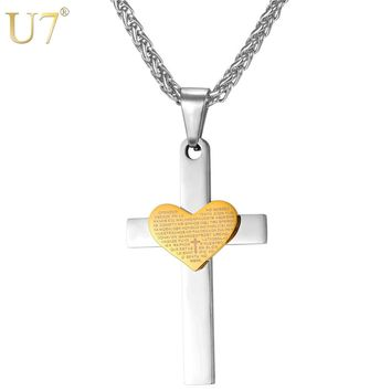 U7 Stainless Steel Cross Necklace Classic Scriptures Heart Charm Pendants & Chain Religious Christian Jewelry P760