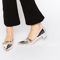 Miss KG Audrina Silver Patent Mid Heeled Mary Jane Heeled Shoes