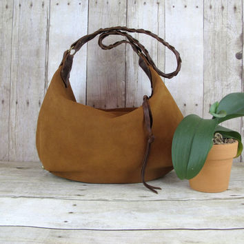 Slouchy Leather Bag, Brown Leather Purse, Handmade Suede Hobo, Medium