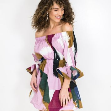 Abstract Off Shoulder Dress