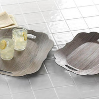 Classic Contemporary Refined Modern Faux Pastoral Wood Grain Scalloped Edges Display Trays
