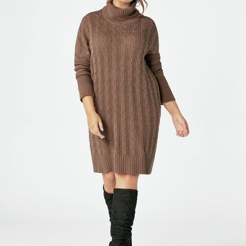 Relaxed Cable Knit Sweater Dress