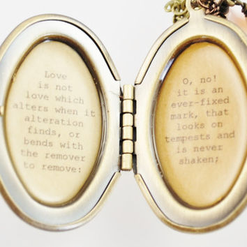 Shakespeare Quote Locket - Sonnet 116 - Love is not love which alters when it alteration finds - Wedding Locket, bride gift, anniversary
