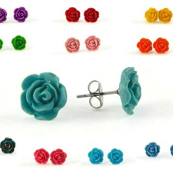 1 Pair of Tiny Rose Stud Earrings in SCENTED or Unscented and Your Choice of Color Options
