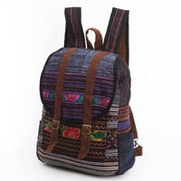 Blue Bohemian, Boho Backpack Ethnic Cross stitch Gypsy Hippie Rucksack