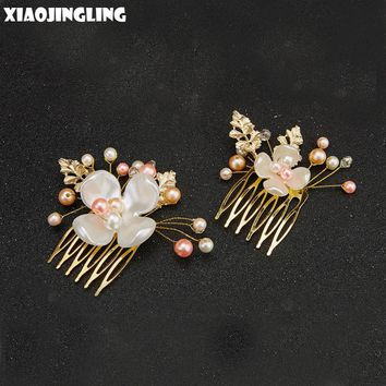 XIAOJINGLING Elegant Vintage Pink Pearl Flower Gold Handmade Hair Jewelry Wedding Bride Hairpin For Women Engagement Party Gifts
