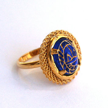 Sapphire Blue Oval Adjustable Ring Vintage Glass Cabochon with Egyptian Etched Scarab Design