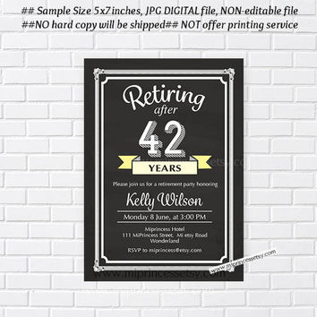 Retirement Invitations, Retirement party Invitation, Retirement Celebration chalkboard Invite, three color to choose from - card 561
