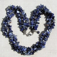 Blue Sodalite Gem-Chip Crystal Necklace - Clearance Price